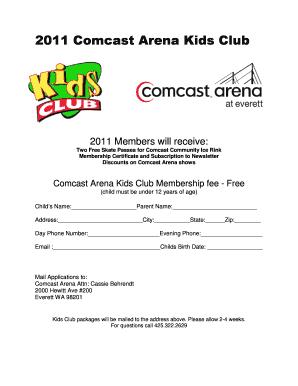 Fillable Online 2011 Comcast Arena Kids Club - Xfinity Arena
