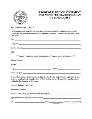 Fillable Online Illinoisacs Music Proof Of Purchase Form - Proof of purchase template