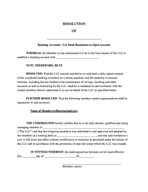 llc resolution to open bank account - Edit, Print, Fill Out