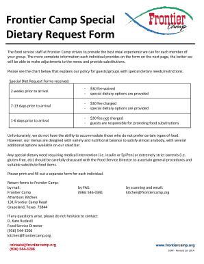 Frontier Camp Special Dietary Request Form