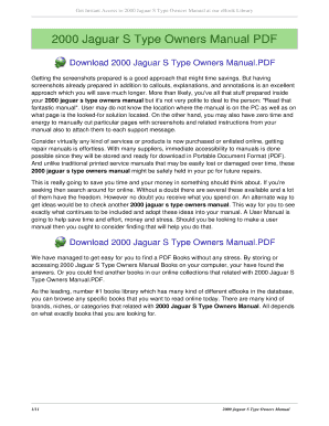 fillable online senoholding 2000 jaguar s type owners manual 2000 rh pdffiller com 2000 jaguar s type 3.0 owner's manual 2000 jaguar s type owners manual free download
