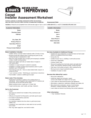 Printable lowes free carpet installation Form Templates to