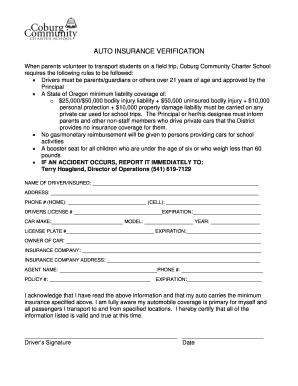 car insurance verification form - Edit & Fill Out Top ...