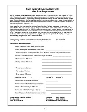 Fillable Online Trane Optional Extended Warranty Fax Email