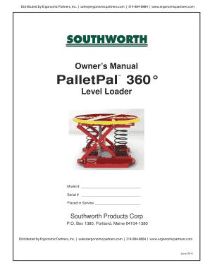 Fillable online owners manual palletpal 360 tm ergonomic partners fill online publicscrutiny Gallery