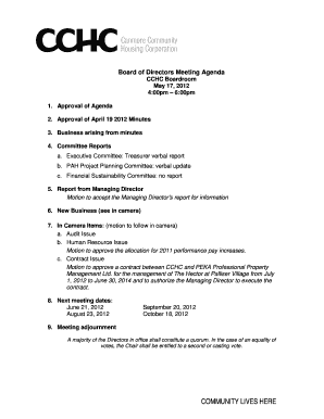 Board of Directors Meeting Agenda CCHC Boardroom May 17 - canmorehousing