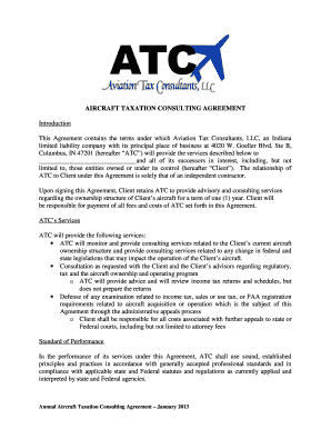 AIRCRAFT TAXATION CONSULTING AGREEMENT