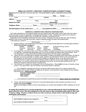 DEKALB COUNTY ATHLETIC PARTICIPATION CONSENT FORM