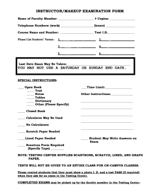INSTRUCTORMAKEUP EXAMINATION FORM