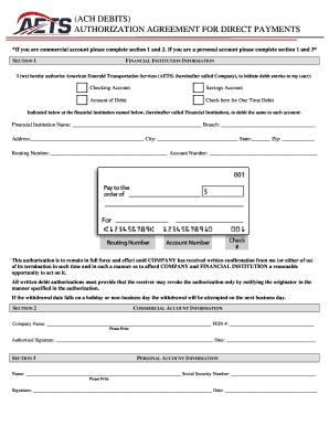 AETS ACH Form  Fillable.pdf   Trucking Work Comp Home