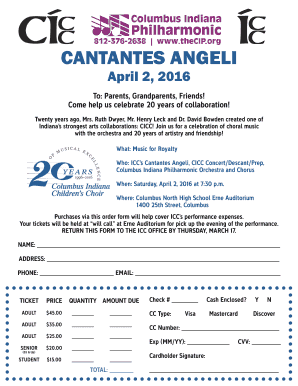Ticket form for CICC 20th Anniversary Concert - icchoir