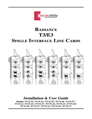 Fillable Online RADIANCE T3/E3 SINGLE INTERFACE LINE CARDS