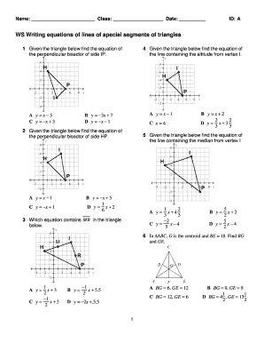ExamView - WS equations of lines special segments of triangles 2012tst - chs conroeisd