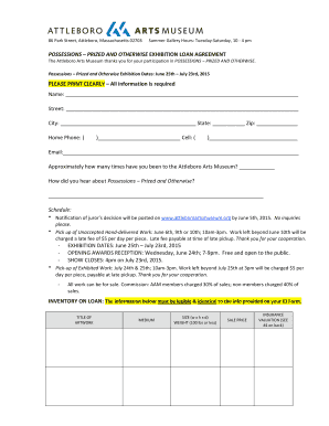 Fillable Online Attleboroartsmuseum Possessions Loan Agreement