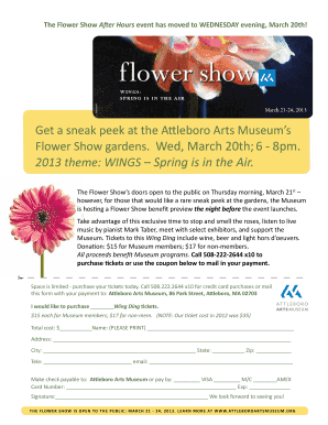 The Flower Show After Hours event has moved to WEDNESDAY - attleboroartsmuseum