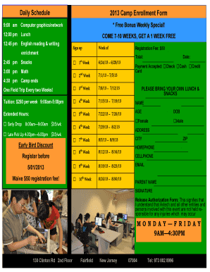 Daily Schedule 2013 Camp Enrollment Form MONDAY FRIDAY ... - mcanjusa