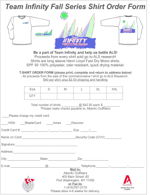 MBFS T Shirt order form - Manhasset Bay Yacht Club