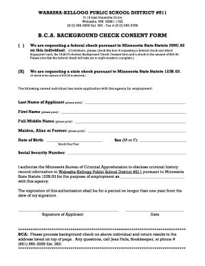 fillable online mail wabasha kellogg k12 mn bca background check