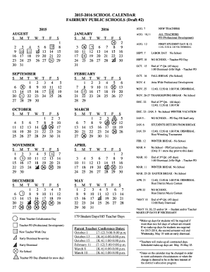 2015-2016 SCHOOL CALENDAR FAIRBURY PUBLIC SCHOOLS Draft 2 - fairburyjeffs