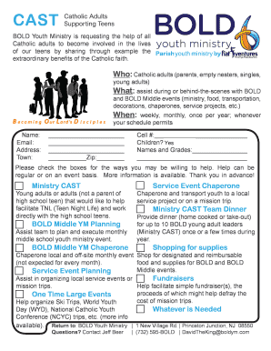 Youth Ministry Planning Template CAST Catholic Adults Supporting Teens