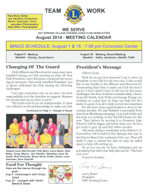 Fillable Online hsvelions Newsletter August 14 - Hot Springs