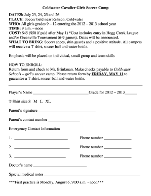 Fillable Online Coldwater Cavalier Girls Soccer Camp DATES