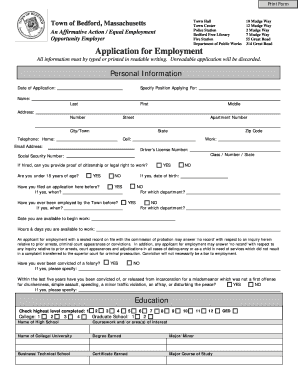 Town of Bedford bEmployment Applicationb