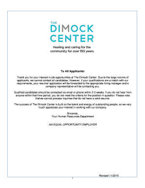 Thank you for your interest in job opportunities at The Dimock Center - dimock