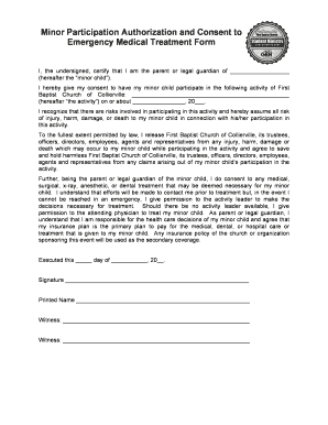 CFBC - Minor Participation Authorization-Consent to Medical Treatment Form