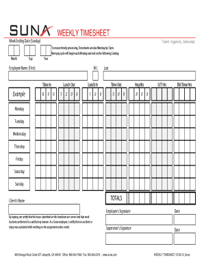 115 printable weekly timesheet template forms fillable samples in
