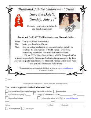 Diamond Jubilee Endowment Fund Save the Date Sunday - childhaven