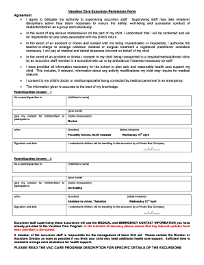 Vacation Care Excursion Permission Form 2 - bgoshcbborgbau - goshc org