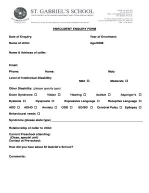 enrolment enquiry form date of enquiry year of enrolment