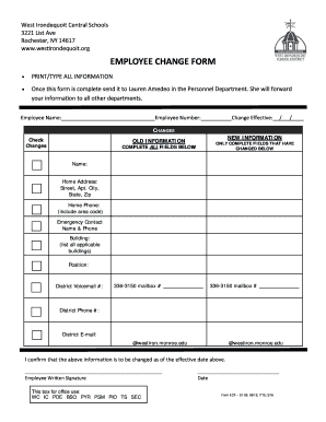 Employee Address Change Form Template. Employee Change Form    SchoolMessenger  Address Change Form Template