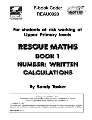 Book 1 number written calculations - Ready-Ed Publications