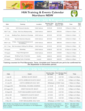 HIA Training Events Calendar Northern NSW
