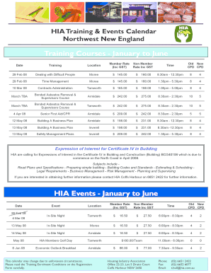 HIA 2008 Northwest New England Training & Events Calendar