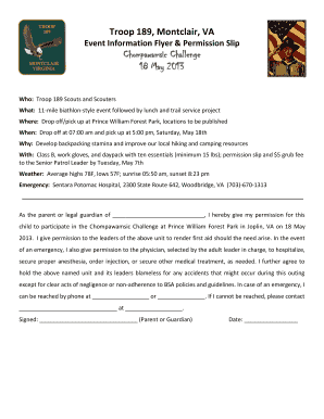 Event Information Flyer Permission Slip Chompawamsic - troop-189