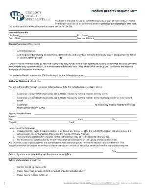 Medical records request form fillable printable online forms medical records request form buhsurologybbcomb altavistaventures Image collections