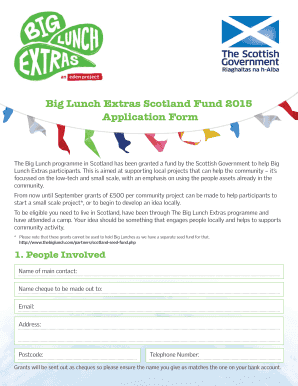 How much does a small wedding cost fillable printable online big lunch extras scotland fund 2015 application form junglespirit Image collections