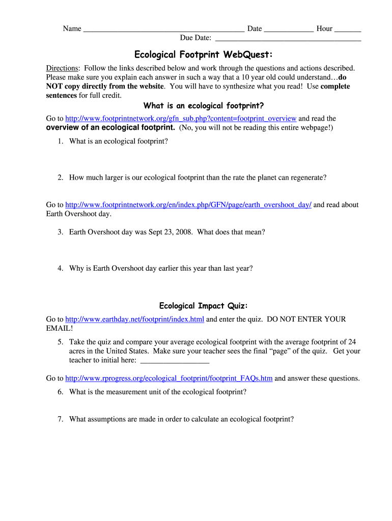 OR Ecological Footprint WebQuest - Fill and Sign Printable ...