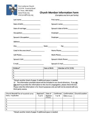 church membership form pdf
