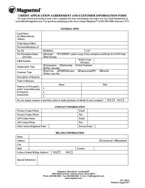 credit application form for customers