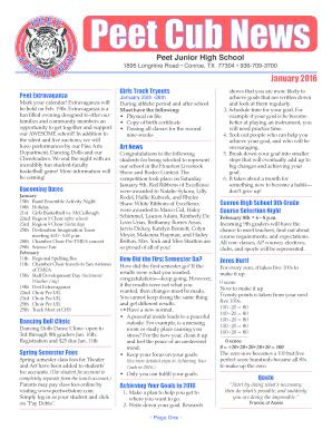 Fillable Online peet conroeisd January 2016 - Peet Junior