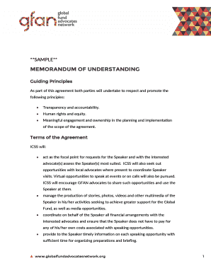 MEMORANDUM OF UNDERSTANDING - Global Fund Advocates Network - globalfundadvocatesnetwork