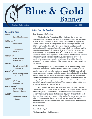 Blue and Gold Banner April 2015 - Uwchlan Hills Home & School