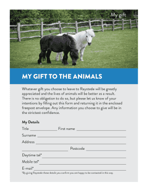 MY GIFT TO THE ANIMALS - The Raystede Centre for Animal Welfare