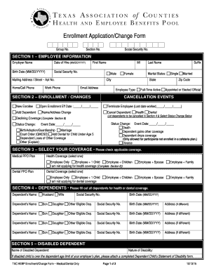 TAC HEBP Enrollment ApplicationChange bFormb - Texas bb - county