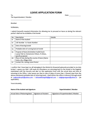 Fillable online leave application form rvg hostels fax email print rate this form thecheapjerseys Choice Image