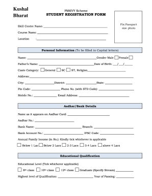 Pmkvy Student Registration Online   Fill Online, Printable, Fillable, Blank  | PDFfiller